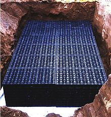 A rainwater soak away using plastic box crates.