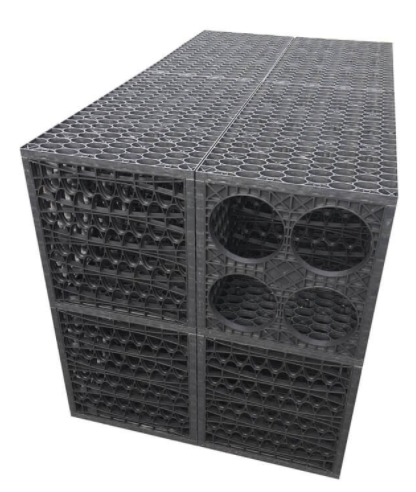 This image shows the crates that provide the drainage for the surface water.